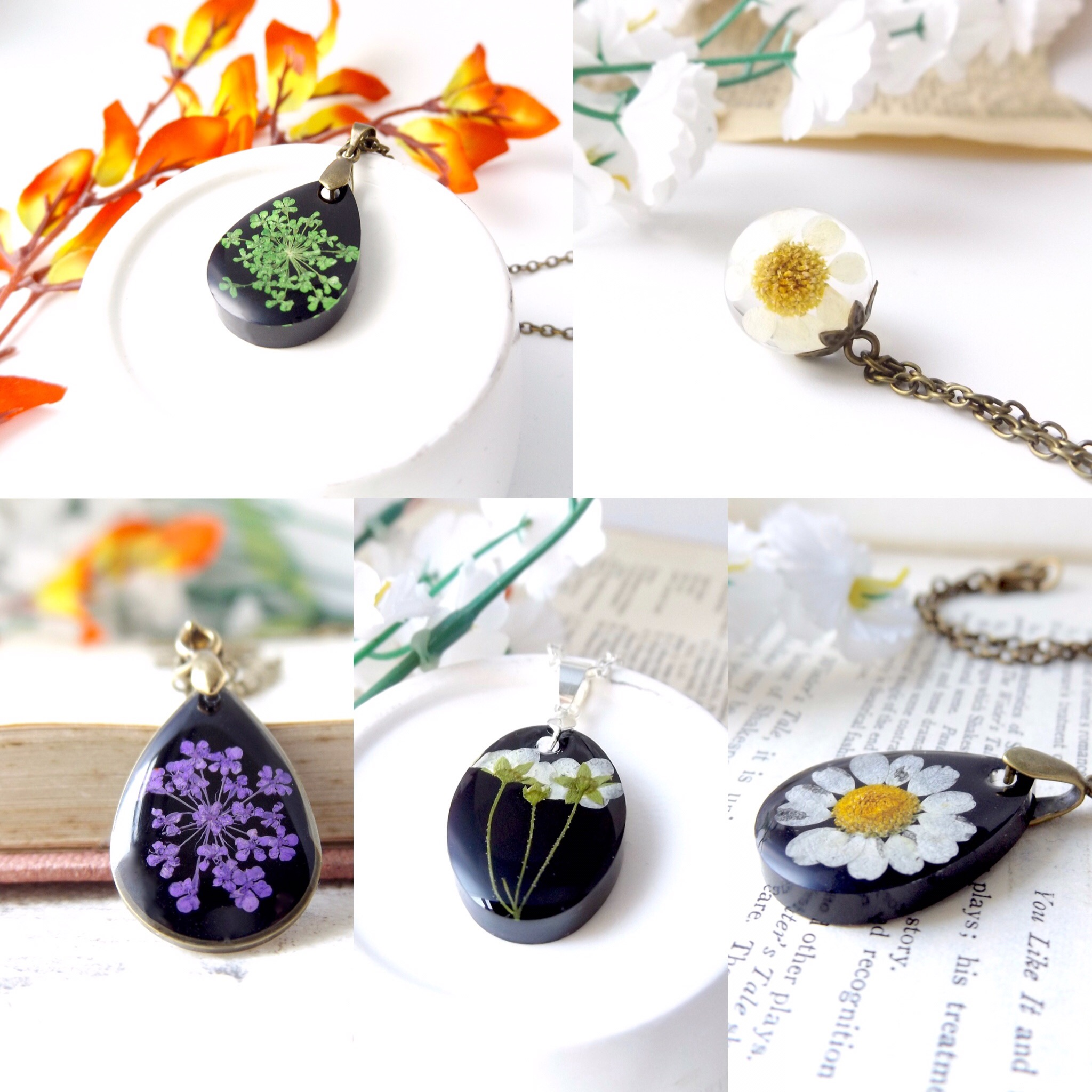 New real flower resin jewellery – perfect for summer outfits!